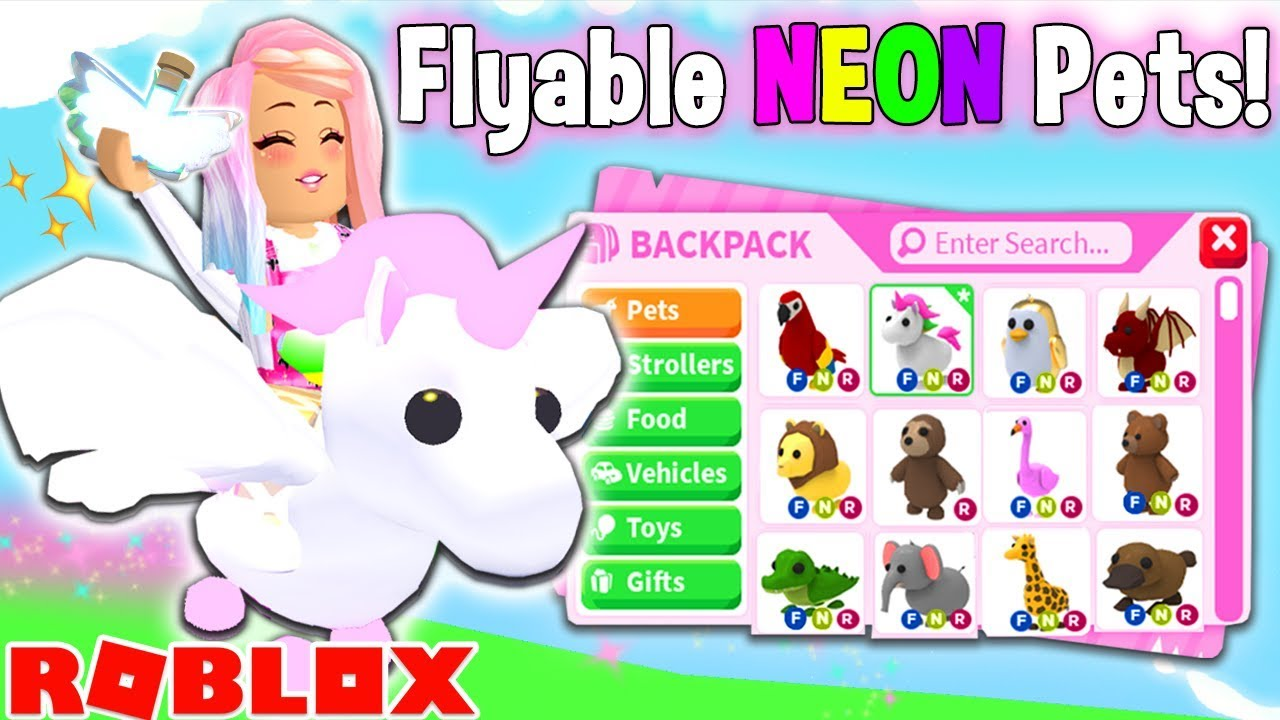 I Gave All My Neon Pets Flying Potions In Adopt Me Brand