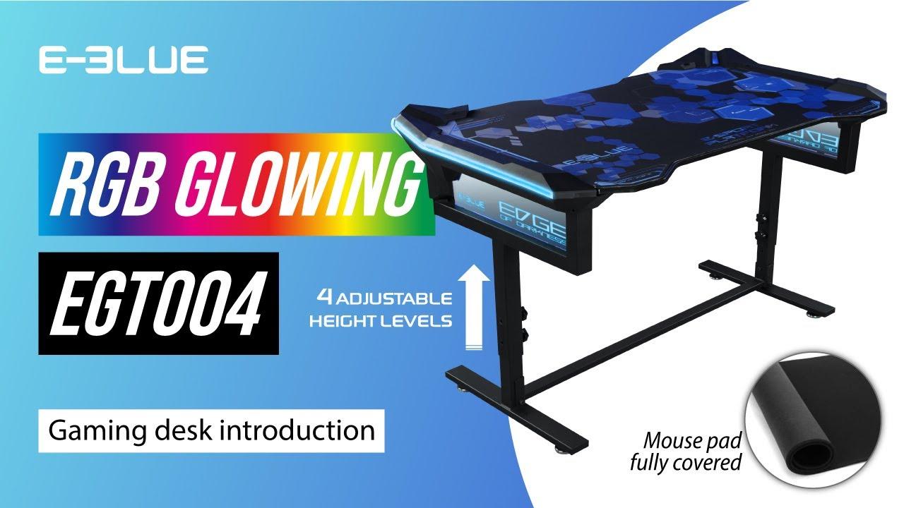 E Blue Rgb Glowing Gaming Desk Egt004 Youtube