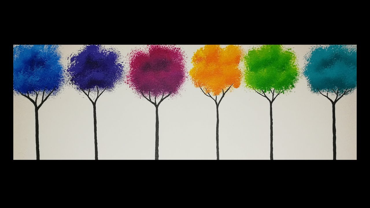 Arbres Colores Debutants Peinture Acrylique Facile Youtube