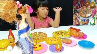 What If oki menjadi penjual es krim burger dan pizza Mainan Anak Perempuan