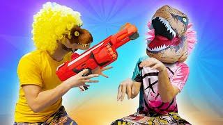 Видео приколы онлайн. Нерфер - Динозавр! Исполнение желаний! Новые игры для мальчиков.