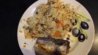 Готовим Скумбрию в мультиварке & Гарнир из риса с овощами