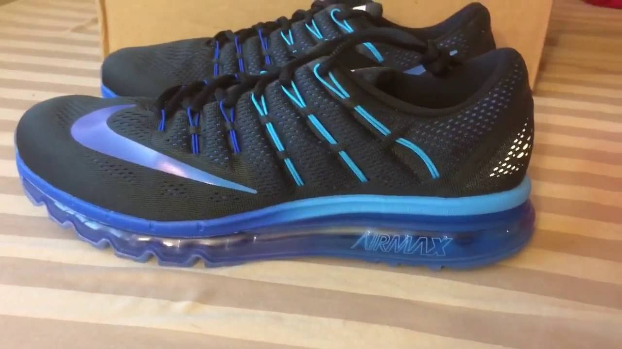 wholesale dealer a5856 c503f Nike Air Max 2016 Black Royal Blue Hyper Blue - YouTube