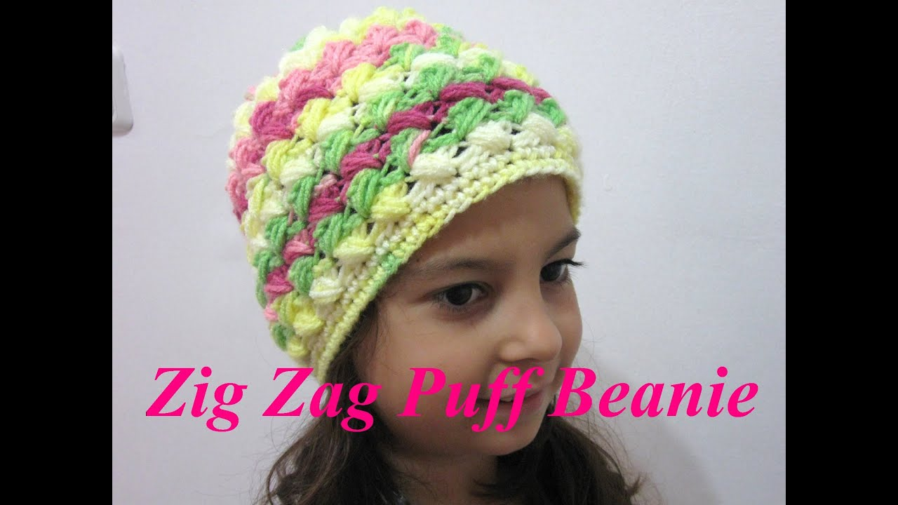 Crochet Tutorial Zigzag : Zig Zag Beanie - Crochet Tutorial - YouTube