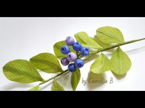 DIY - Paper Blueberries from tissue& crepe paper-Arándanos de papel tissue y crepe