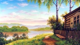 Картина маслом.Дом у реки.Обзор.