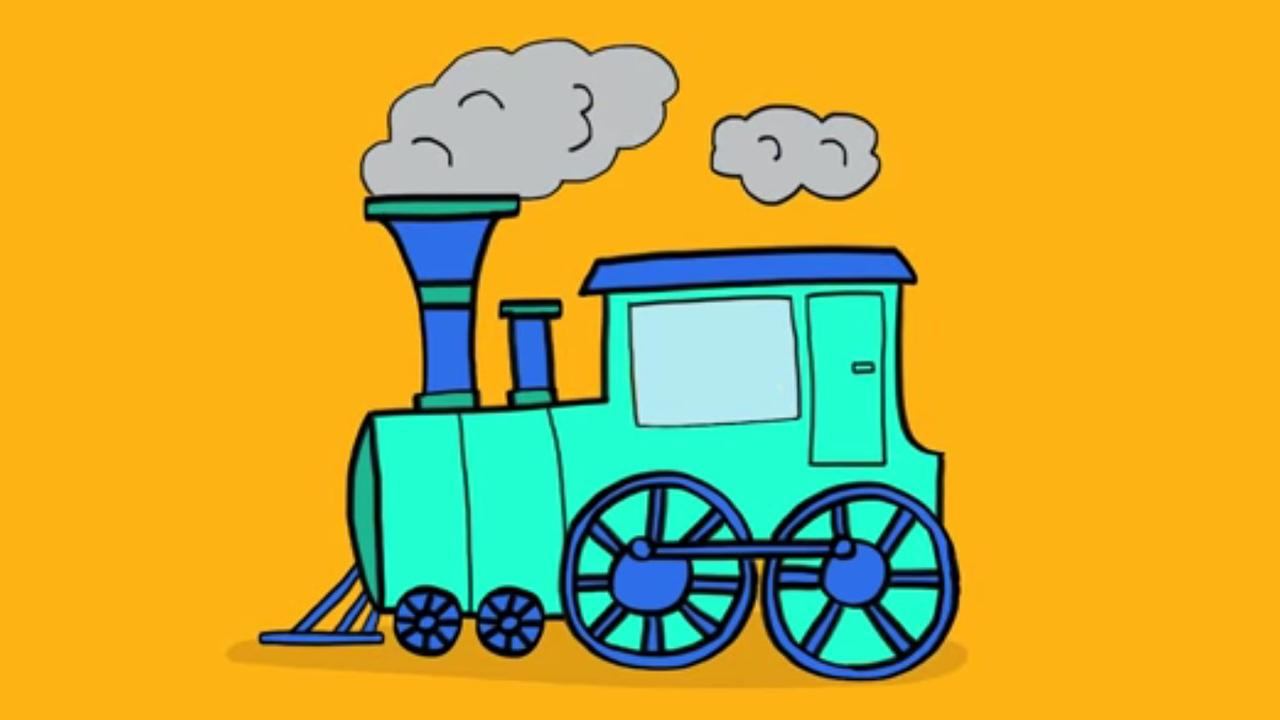 Apprendre dessiner une locomotive vapeur en 3 tapes youtube - Train en dessin ...