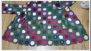 꽃무늬 모티브 후드 코트