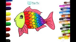 How to Drawing Fish  Coloring Pages for Kids Learning Videos for Children