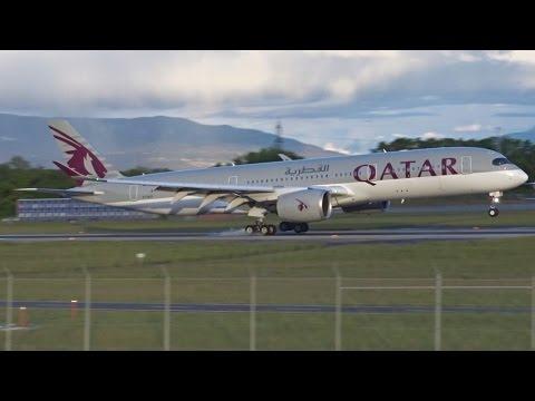 [FullHD] *INAUGURAL* Qatar Airbus A350-900 XWB at Geneva/GVA/LSGG