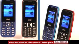 Trio T3 Selfie Dual SIM Bar Phone - Combo of 2 With BT Speaker