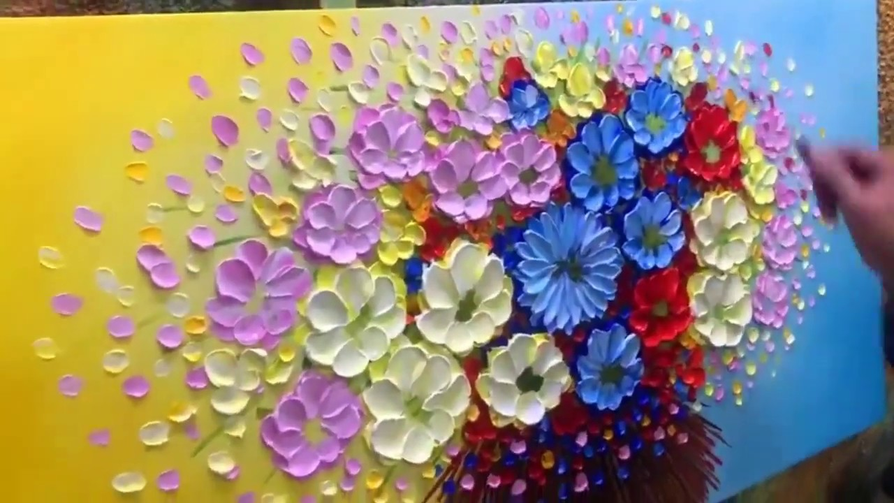 7 Canvas Flowers Oil Painting Ideas For Beginners Step By Step 3d Hand Painting Tutorial 2020 Youtube