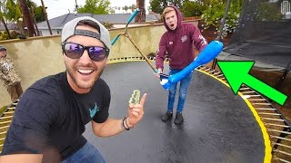 TRAMPOLINE GAME OF SCOOT IN RAIN! *SKETCHY* thumbnail