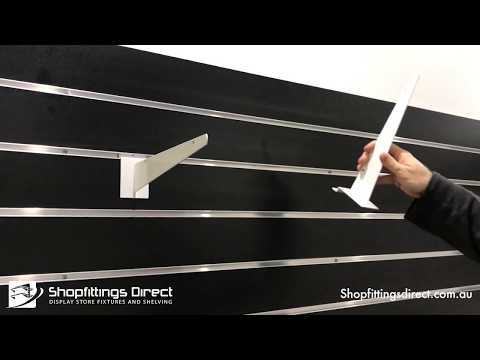 Melamine Shelves On Slatwall Brackets With IDC Clips