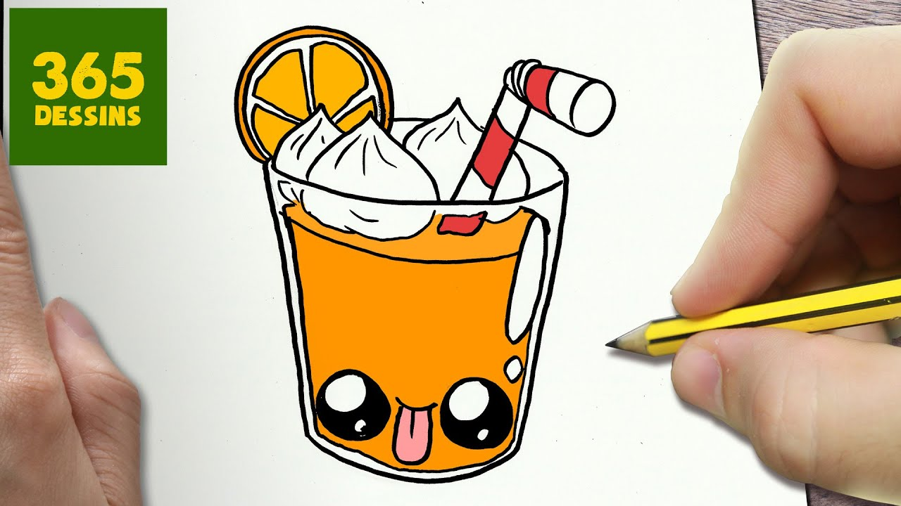 Comment dessiner du jus d orange kawaii tape par tape - Orange dessin ...