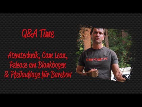 Q&A No. 7: Atmung beim Schießen, Camlean, Release am Blankbogen und Pfeilauflagen für den Blankbogen