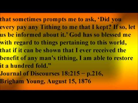 Brigham Young Misused Tithing - Mormonism Exposed
