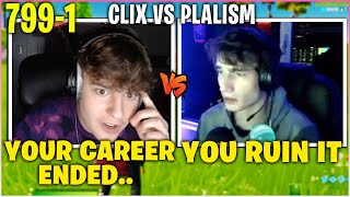CLIX SHUTS UP *COCKY* PLALISM After He RUINS 800-0 1v1 BUILD Fight Record! (Fortnite)
