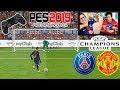 Reto épico!!! PENALTIS con castigo PES 2019 Manchester United vs PSG (Champions League)