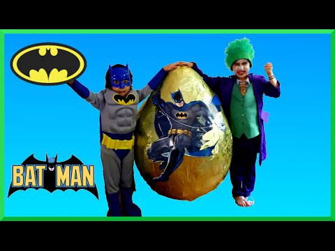 GIANT EGG SURPRISE OPENING Batman VS Joker Superhero Toys Kids Video Batman Toys GIANT Surprise EGG