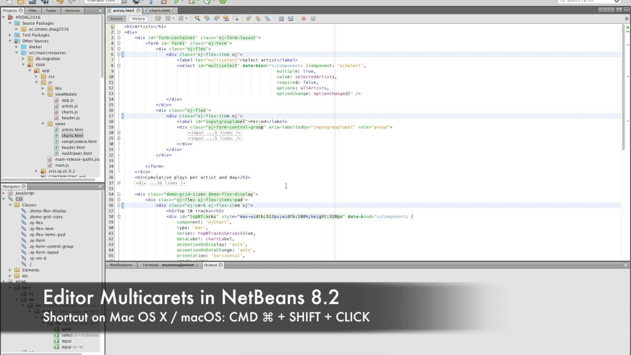 NetBeans 8 2 Editor Multicarets on OS X