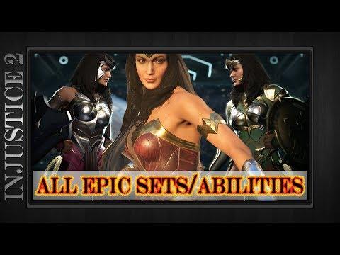 WONDER WOMAN - All Epic Gear Sets & Abilities w/ Legendary Showcase Demo - Injustice 2