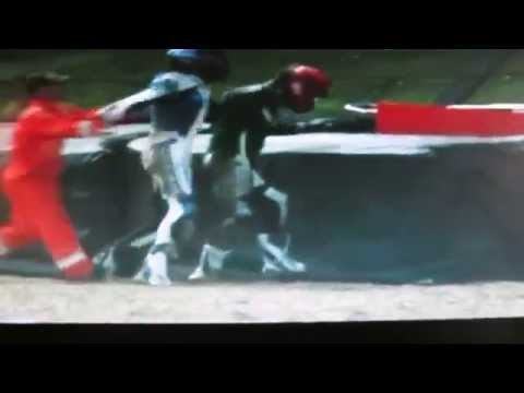Motorcycle racers fight after crash at Brands Hatch