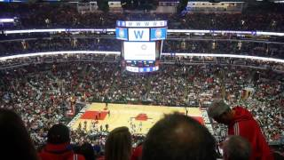 The final out of the 2016 World Series at the Bulls Knicks game