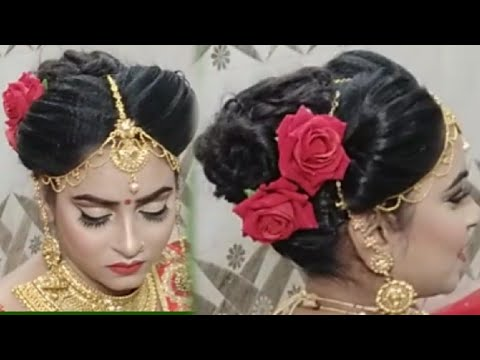 Bridal Layer Hairstyle Step By Step How To Set Maang Trika In