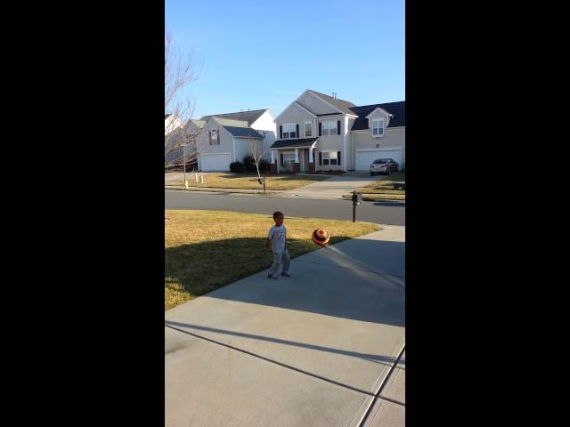 Bryson 4 years old makes a shot on 10 foot goal