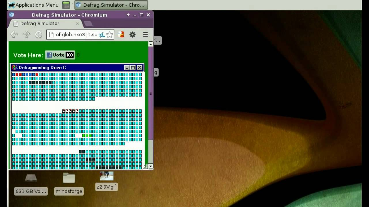 Windows 95 Defrag exe simulator