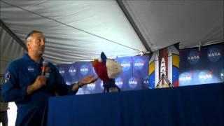 Astronauts Mike Massimino, Doug Wheelock, and Sesame Street