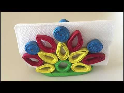 How to make `Newspaper Napkin Holder`-  DIY - Cómo hacer un servilletero de papel.