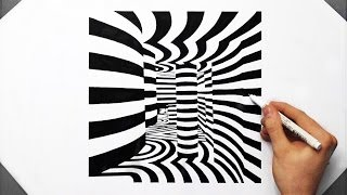 3D ROOM Cool Optical Illusion - Speed Drawing ( How To Draw ) Line Art