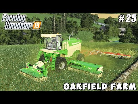 Selling wood chips bales, mowing and drying grass | Oakfield Farm | FS 19 | Timelapse #25