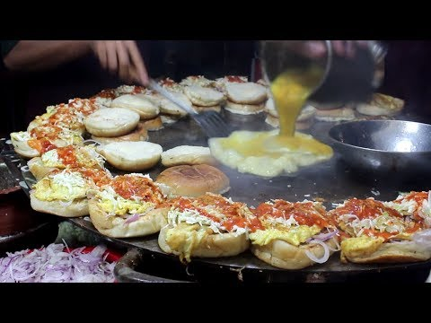 Super Fast Cooking Skills - BURGER MAKING - Bun Kabab Street Food of Karachi Pakistan