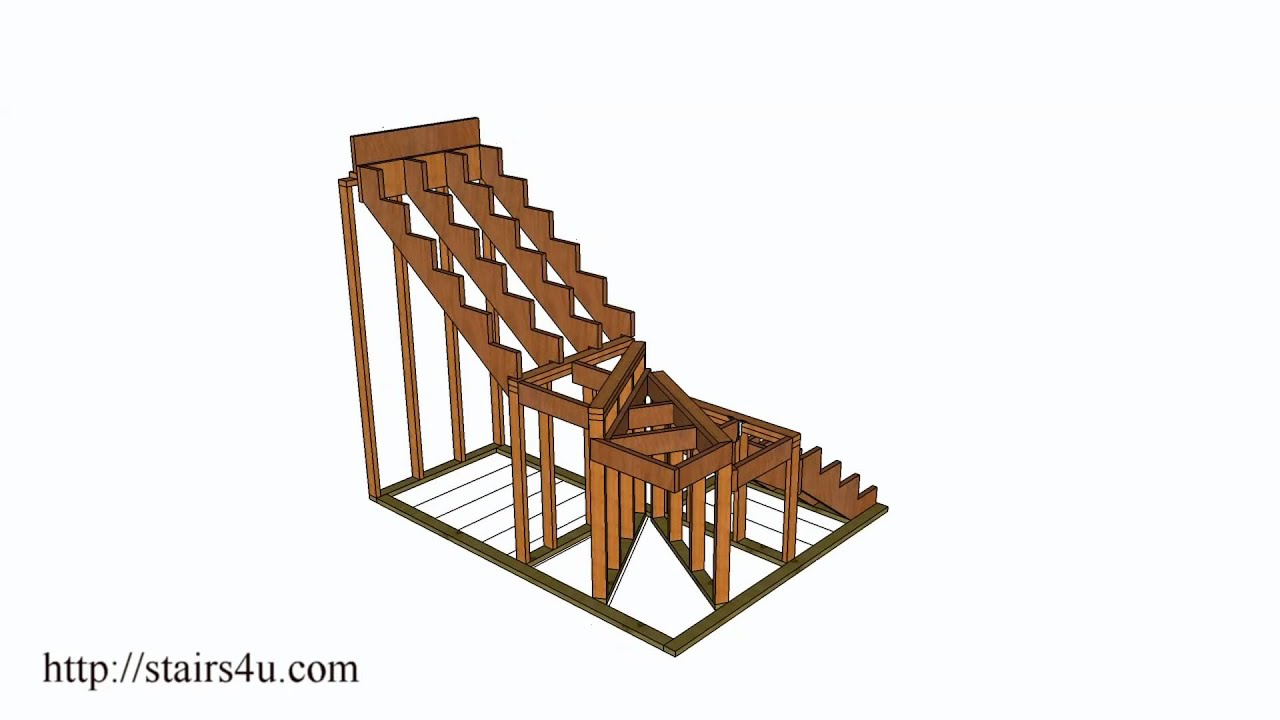 How to build and frame winding stairs example 2 youtube for Building winder stairs