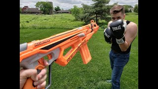 First Person Nerf War: Boxer vs Soldier
