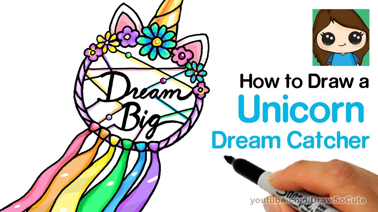 How To Draw A Unicorn Dream Catcher Easy Youtube