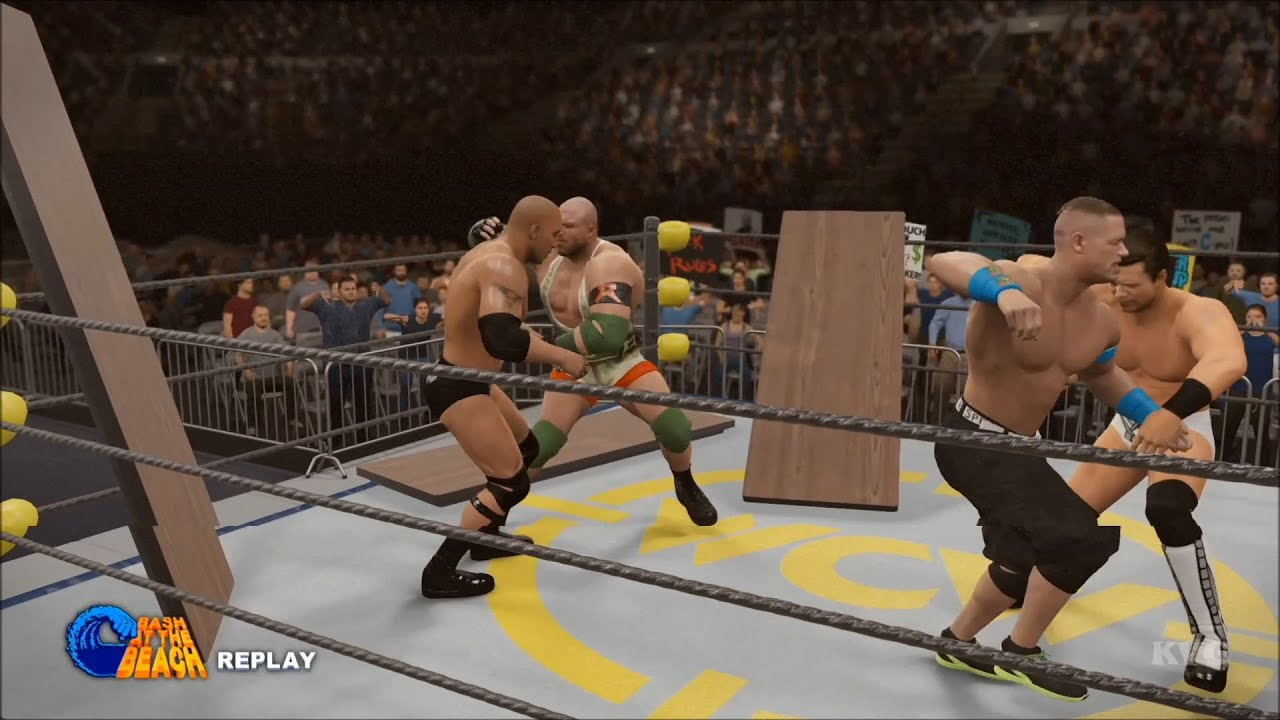 wwe 2k16 table match john cena vs the miz vs ryback vs the