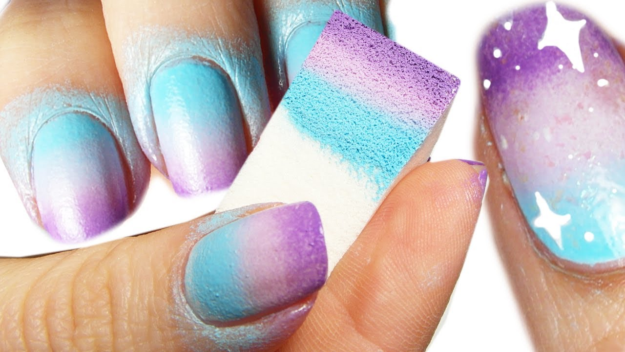 Sponge galaxy nail art tutorial youtube prinsesfo Image collections