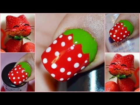Cute & Easy Strawberry Nail Art : Short Nails - Cute & Easy Strawberry Nail Art : Short Nails - YouTube