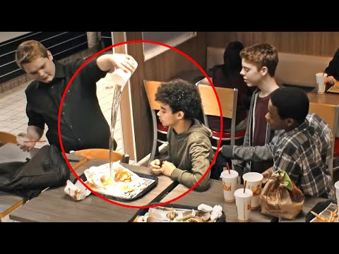 Teens Mock Boy At Burger King, Don't Notice Man On Bench WATCH WHAT HAPPEND