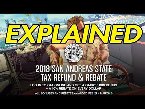 GTA ONLINE - EXPLAINING THE $250,000 TAX BONUS AND 10% REBATES