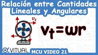 Relación entre cantidades lineales y angulares ejemplo 1 de 3 | Movimiento circular - Vitual