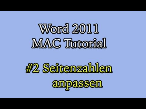 Abschlussarbeit In Word 2011 Am Mac 2 Seitenzahlen Anpassen