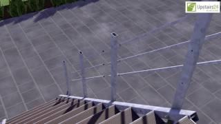 Vidéo: Escalier extérieur Hollywood WPC avec palier et 2 rampes