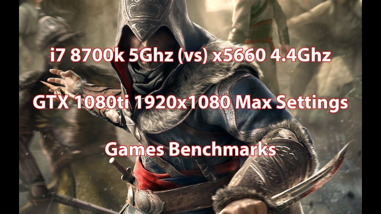 i7 8700k 5Ghz (vs) Xeon x5660 4 4Ghz GTX 1080ti 1920x1080 Max Settings  Games Test