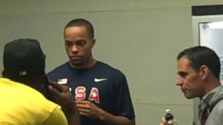 Wallace Spearmon and Usain Bolt Hang Out After the 19.19 World Record