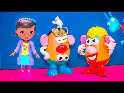 DOC MCSTUFFINS + TOY STORY Doc McStuffins Saves Mr  Potato Head Video Toy Parody